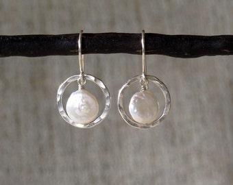 Hammered Sterling Silver Orbit & Fresh Water Coin Pearl Earrings