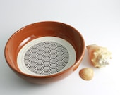 Japanese Wave Origami Pattern Bowl in Rust Brown