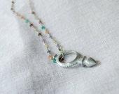 SALE Sterling Silver Multi Colored Semi Precious Stone Chain with Compass Sud de Croix African Tuareg Pendant