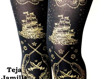 Pirate Narwhal Printed Tattoo Tights Medium Tall 80 Denier Gold on Black Womens Fashion