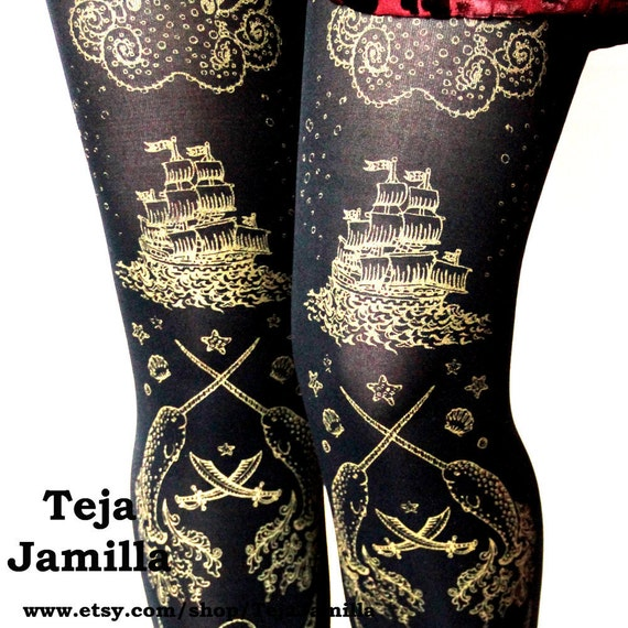 Pirate Tights Narwhal Print Large Gold on Black Womens Tattoo Sailor Octopus Squid Anchor Nautical