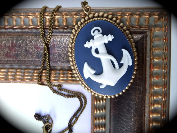 SALE- WAS 31.00 Nautical Anchor Cameo Necklace in Navy Blue & White on Antiqued Gold Pendant Setting