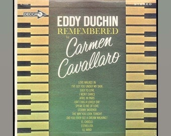 Eddy Duchin Remembered - Piano Played by Carmen Cavallaro Vintage Vinyl Record Album 1963 Decca LP
