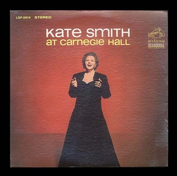 Kate Smith at Carnegie Hall - Live Performance including God Bless America, Vintage Record Album, 1964 RCA  LP