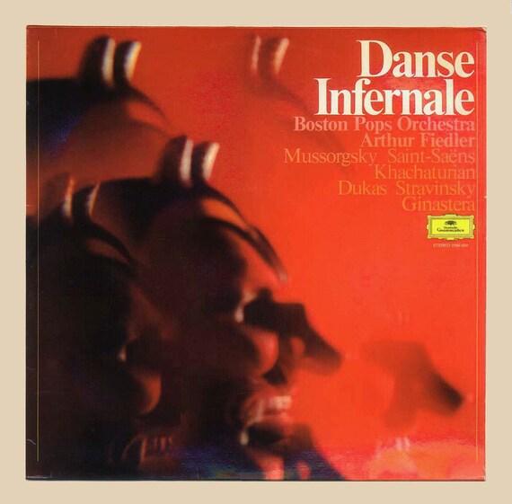 Boston Pops Orchestra Arthur Fiedler, Vintage Vinyl Record Album, Mussorgsky, Saint-Saens, Stravinsky, etc, Deutsche Grammophon Import