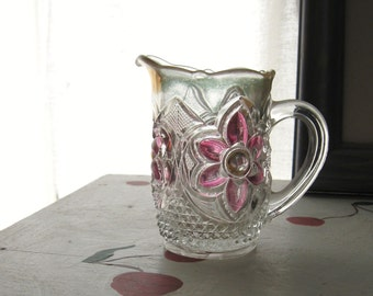"VINTAGE CREAM PITCHER Floral Pressed Glass or Crystal ""Pretty Posies"""