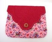 Clutch, Women's Clutch, Velcro Clutch, Red Clutch