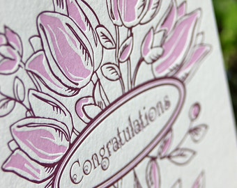 Congratulations Tulip bouquet letterpress greeting card - folded, blank - single card