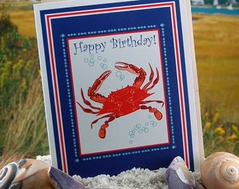 Red crab - Happy Birthday  - blank inside, single, folded greeting card