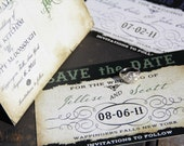Steampunk Save the Date. Torn textured save the date. Old world save the date.