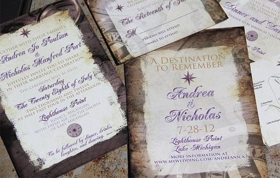 Destination Wedding Invitations Etsy: Vintage Destination Wedding Invitations. Travel Themed Wedding