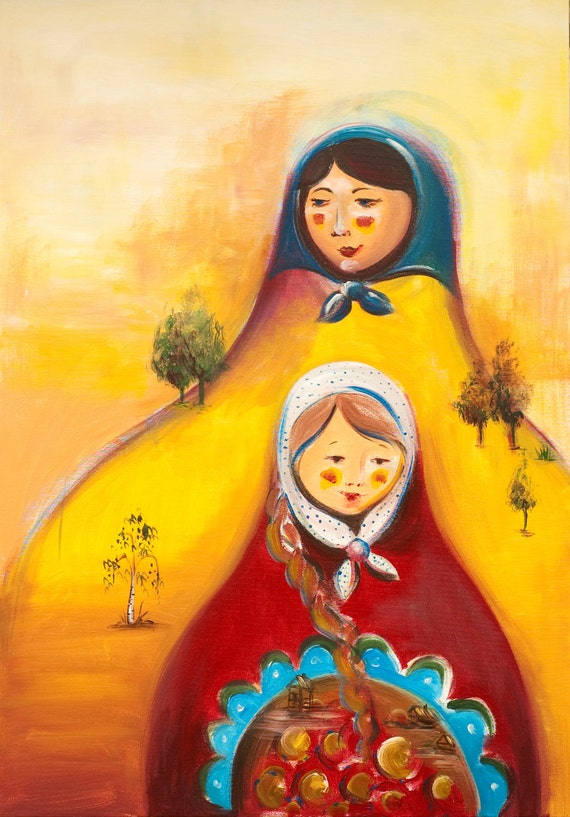Mother daughter Matryoshka mountains - A3 print from Original acrylic painting. Folk art  - contemporary - folk Artwork by Dina Argov