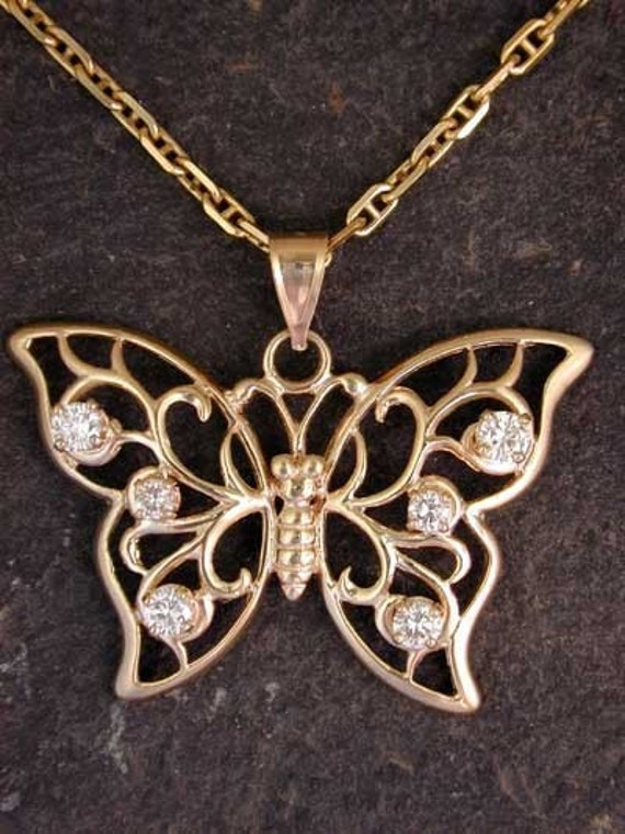 Spectacular 14K Gold Butterfly with Diamonds Pendant on a 14K Gold Chain