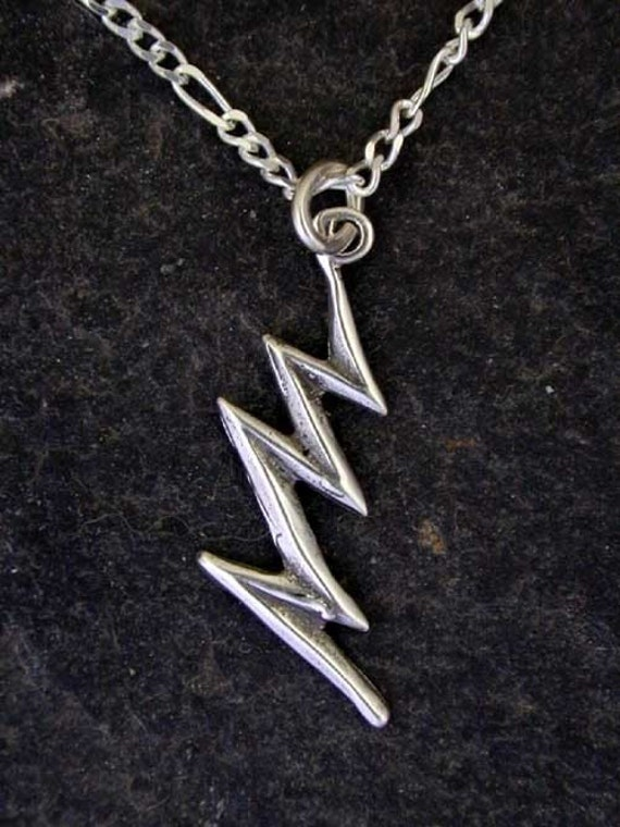 Sterling Silver Lightning Bolt Pendant on a Sterling Silver Chain