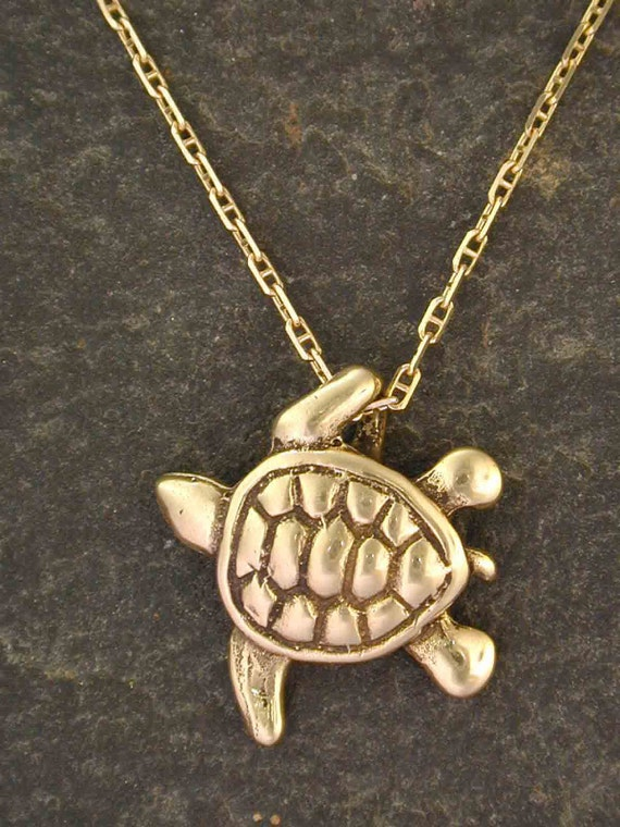 14k gold origianl sea turtle pendant on a 14k gold chain