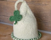 ST. PATRICK'S DAY Newborn Baby Hat, Shamrock Newborn Hat, Knit Handmade St. Paddy's Child Hat in Green,  Handmade Hat Kids Children Clothing