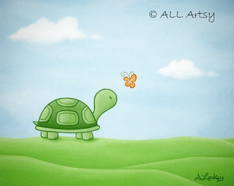 Turtle Meets Butterfly - Matted Canvas 8x10 Painting Art Print - wall art