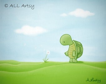 Turtle wishes - matted 8x10 canvas painting print - childrens wall art