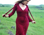 Red Wrap Dress for Women - Organic Cotton Soy Jersey - Eco Friendly - Organic Clothing