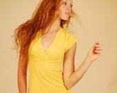 Eco Fashion - Cap Sleeve Crossover V Neck Shirt - Citrine Yellow - Organic Clothing - Eco Friendly