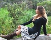 Skirt - Women's Aline Skirt  - Floral  Black and White - Organic Cotton - Eco Friendly - Organic Clothing