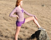 Women's Yoga Shorts - Purple Jersey Eco Friendly - Organic Clothing - Several Colors Available