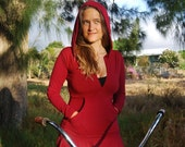 Women's Hoodie - Long Sleeve - Kangaroo Pocket - Red Riding Hood - Organic Clothing - Eco Friendly Jersey
