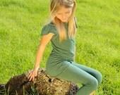 Girls Capri Leggings Tights - Emerald Green - Yoga Pants - Organic Clothing - Eco Friendly -Several Colors