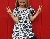 Eco - Friendly Peasant Dress for Girls - Tunic -  Mini Dress - Black White Floral - Organic Clothing