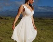 Eco Wedding Dress - Tea Length Dress - White - Creme - Organic Cotton - Eco Friendly - Organic Clothing