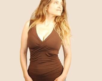 Women's Sleeveless Top - Tank Top - Cross Front - V Neck - Eco Friendly - Organic Clothing