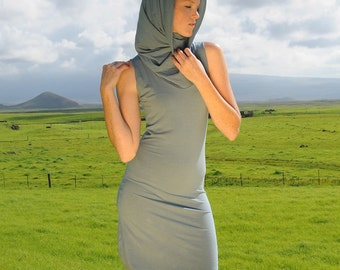 Eco Friendly Mini Dress - Sleeveless Cowl Hoodie - Fitted - Stone Blue - Organic Clothing - Several Colors