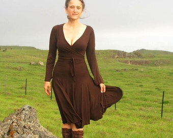 Women's Circle Skirt in Chocolate Brown -  Organic Clothing -  Eco Friendly