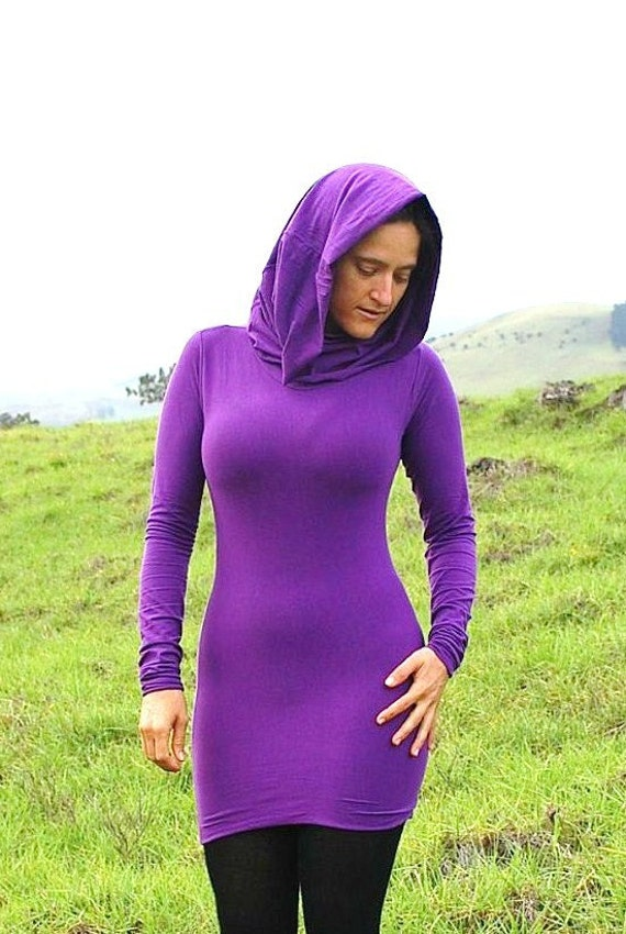 Women Plum Tunic - Long Sleeve Cowl - Hoodie - Organic Clothing - Eco - Friendly Jersey - Several Colors