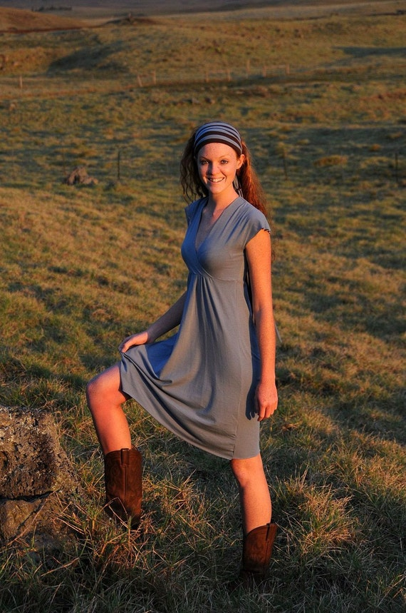Women's Dress - Cap Sleeve - Bridesmaid Dress - Cross-Over Front - Organic Clothing - Eco Friendly