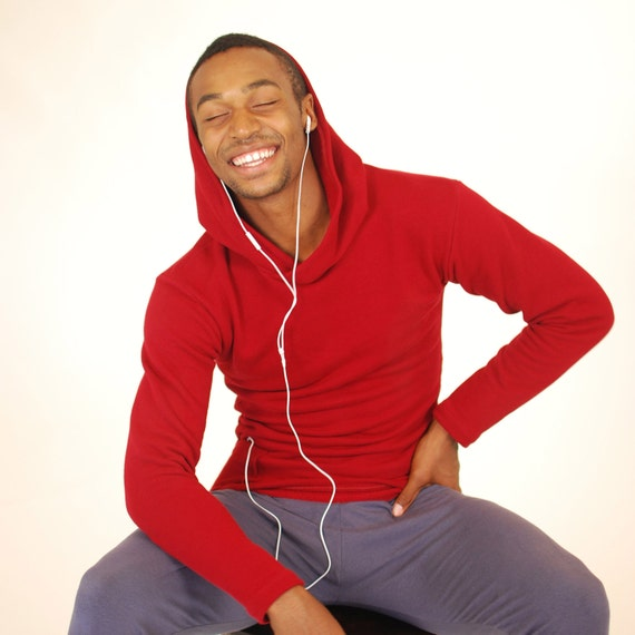 Men's Hoodie - Red Organic Cotton with Side Pocket - Eco  Friendly - Organic Clothing