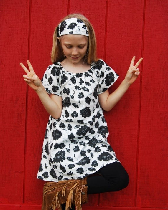 Eco - Friendly Peasant Dress for Girls - Tunic -  Mini Dress - Black White Floral - Organic Clothing