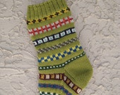 Hand knit Christmas stocking in light olive green with FREE U.S. SHIPPING