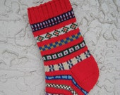Hand knitted Christmas stocking cherry red FREE U.S. SHIPPING