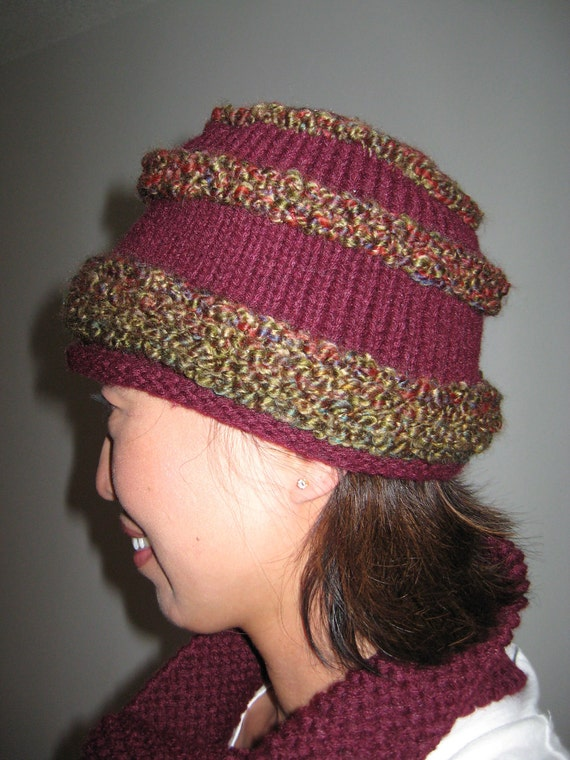 ON SALE Burgundy, maroon, wine, oxblood hat hand knit free U.S. shipping