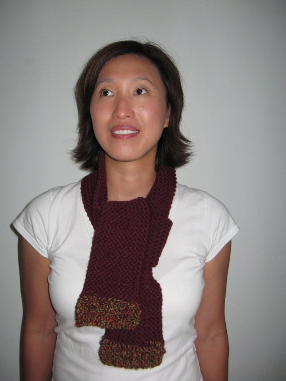 ON SALE Hand knit scarf burgundy, wine, maroon, oxblood free U.S. shipping