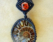 Ammonite Fossil Necklace in Black, Brown, Beige, Green, or Maroon Micro Macrame Knot Work