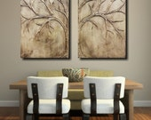 Love Tree Set/ Earth- 24x36 Unique Sculptural Abstract Set of original paintings