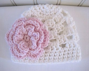 Crochet Girls Hat - Baby Hat - Newborn Hat - Baby Girl Hat - Toddler Hat - White with Pink Flower - in sizes Newborn to 3 Years