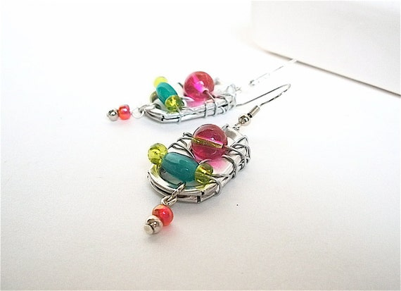 Hand-wired Pop Tab Earrings - Deja Vu - hot pink, aqua, lime - for teens and adults - beaded- upcycled/recycled/eco-friendly - under 15.00