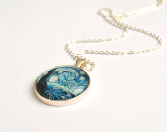 Van Gogh's Starry Night, round glass pendant necklace