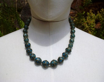 60's  Indian,  Turquoise Tribal Beaded Necklace