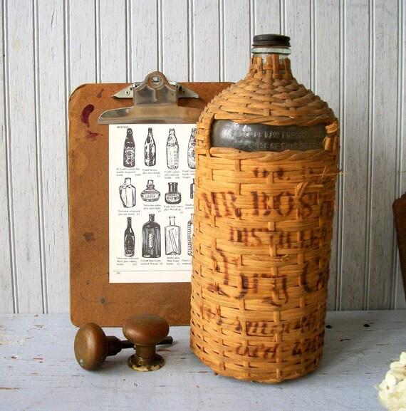 Vintage Wicker Covered Bottle
