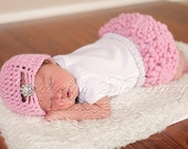 The Jewel Flapper Beanie in Baby Pink Available in Newborn to Preteen Size- MADE TO ORDER