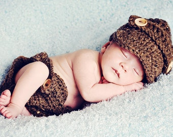 The Oliver Newsboy Cap in Barley with Matching Diaper Cover Available in Newborn to 24 Months Size-  MADE TO ORDER